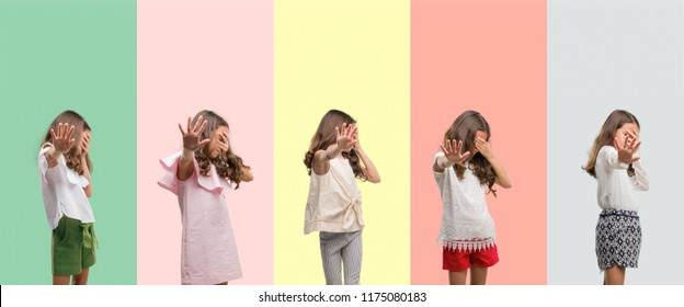 Collage of brunette hispanic girl wearing different outfits covering eyes with hands and doing stop gesture with sad and fear expression. Embarrassed and negative concept.