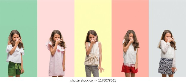 Collage of brunette hispanic girl wearing different outfits smelling something stinky and disgusting, intolerable smell, holding breath with fingers on nose. Bad smells concept.