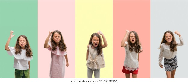 Collage of brunette hispanic girl wearing different outfits angry and mad raising fist frustrated and furious while shouting with anger. Rage and aggressive concept.