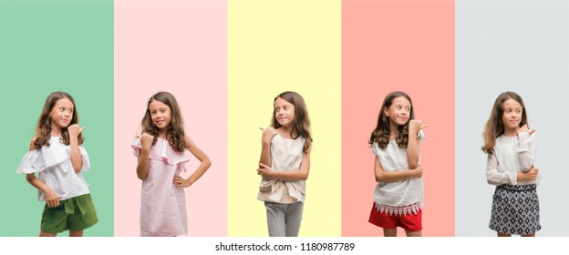 Collage of brunette hispanic girl wearing different outfits smiling with happy face looking and pointing to the side with thumb up.