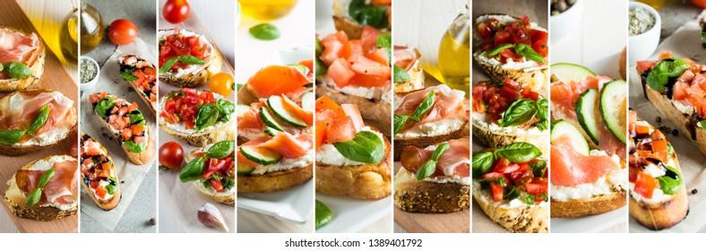 Collage of bruschetta, antipasti, snack, tapas. Banner.
