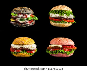 collage of burgers with colorful buns and different fillings on a black background