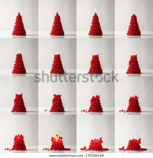collage of burning candles in the shape of a christmas tree