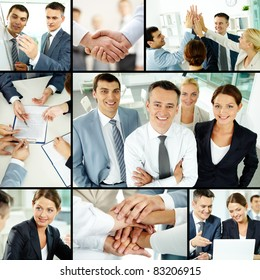 Collage of business group in office during working day