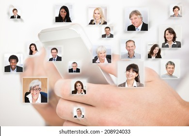 Collage of business people with hands using cell phone representing global communication