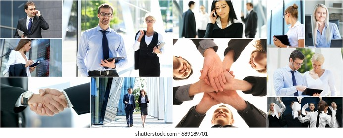 Collage of business people made of different photos. Business, office, finance, real estate and corporative relations concept.