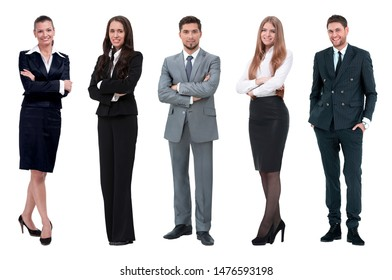 Collage of business people on white background