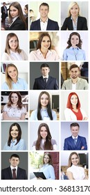 Collage of business people portraits