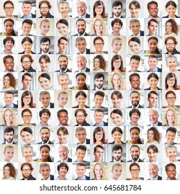 Collage of business people portraits as team of entrepreneurs and diversity concept