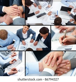Collage of business team at work and symbols of partnership