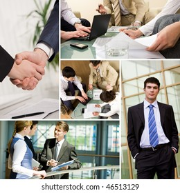 Collage with business teams interacting during work