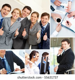 Collage with business teams, man and objects in different situations