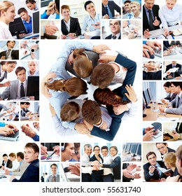 Collage of business teams working together, technology and partnership concepts