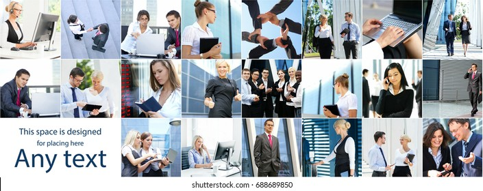 Collage of businesspeople made of different pictures. Business, finance, money, real estate and corporative relations concept.