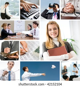Collage with businesspeople and objects in different situations