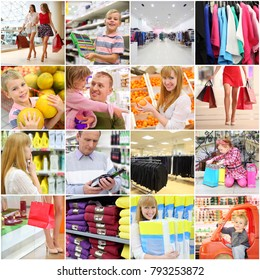 Collage with buyers (adults and children), malls and shops, 8 models