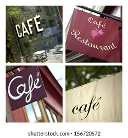 Collage of cafe signs