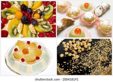 Collage of cakes and sweets mixed