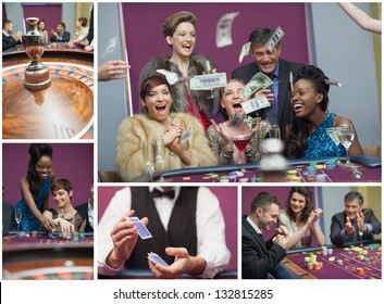 Collage of casino images with roulette and people winning and cheering