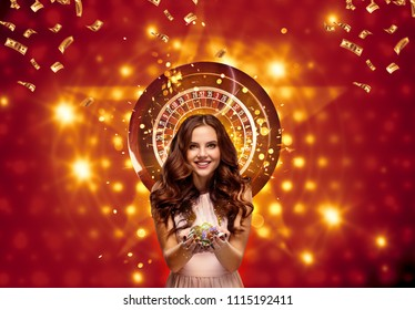 Collage of casino images with roulette and woman with chips in hands