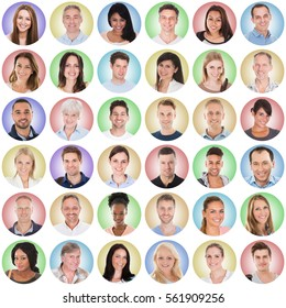 Collage Of Casual Group Of People With Different Ethnicity On Colored Background
