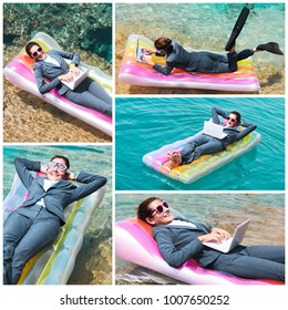 Collage of Caucasian businesswoman wearing suit and sunglasses lying on pool raft, working on laptop, looking at camera and smiling during vacation. Female freelancer using laptop at seaside. Travel c