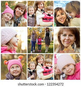 Collage of cheerful family in autumnal park