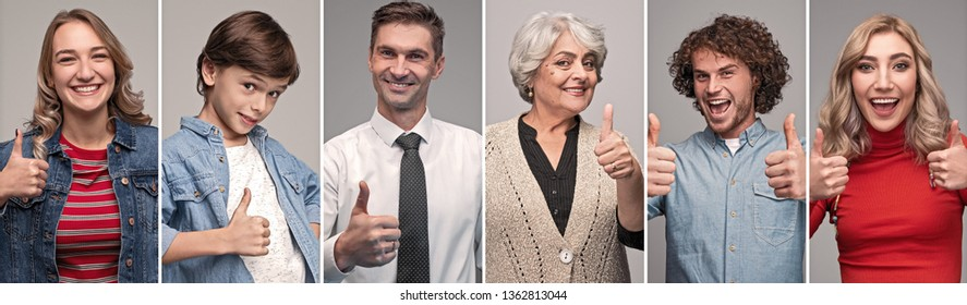 Collage of cheerful people of all generations showing thumb up gesture and looking at camera