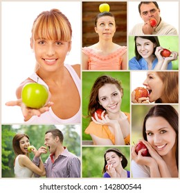 Collage of cheerful young beautiful women and men with apples.