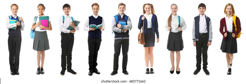 Collage of children in different school uniforms on white background
