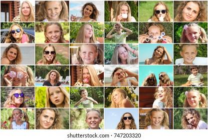 collage children girl portrait mosaic