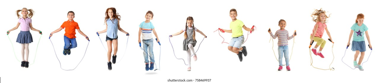 Collage of children with jumping ropes on white background