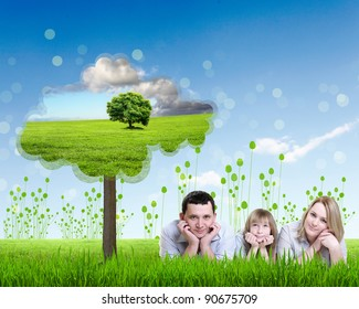 Collage with children and parents on green grass and under blue sky