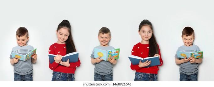 Collage of children reading books on light background. Banner design