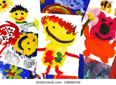 collage of children's drawings