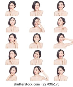 collage of chinese woman different facial expressions