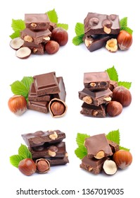 Collage of chocolate isolated in white backgrounds.