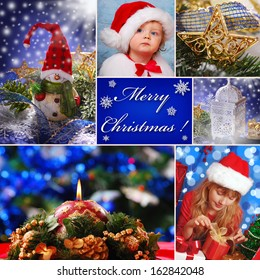 collage with christmas decorations and children in santa claus hat