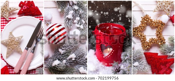 Collage from  Christmas  photos. Decorative   lantern with candle, toys,  place setting and branches fur tree on  wooden background. Holiday site header.