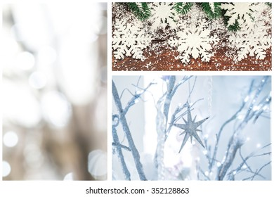collage with Christmas  trees, decor, star,  Snow, and lights