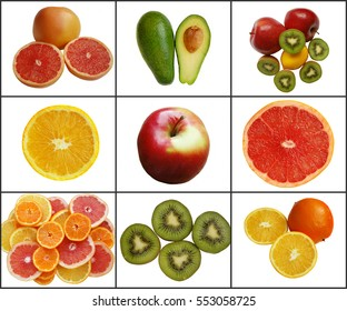 collage, citrus on a white background. whole and slices