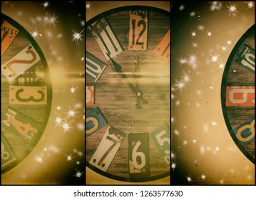 Collage of clock before midnight