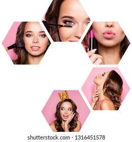 Collage close-up cropped view of five hexagonal nice-looking attractive gorgeous glamorous magnificent wavy-haired lady doing make-up tell gossip isolated over pink background