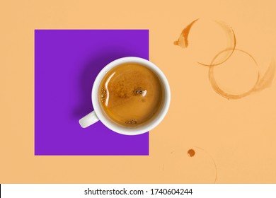 Collage of Coffee Cup With Freshly Brewed Espresso Near Coffee Smudges on Abstract Multicolred Geometrical Background