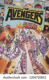 A collage collection of Avengers superhero comic books produced by Marvel Comics featuring Ultron and made into some successful Hollywood feature films including Avengers: Infinity War