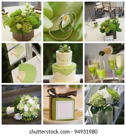 Collage collection of green wedding details from ceremony and reception