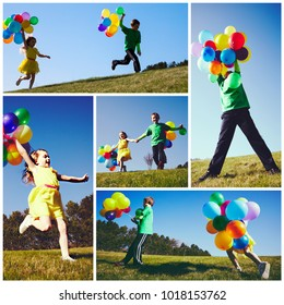 Collage of collection photos of happy children with balloons at summer.