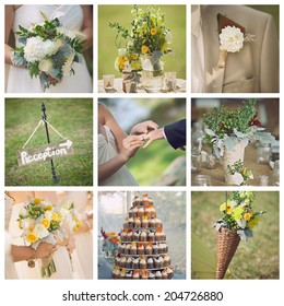 Collage collection of wedding details from rustic ceremony and reception