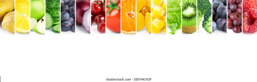 Collage of color fruits and vegetables. Food concept