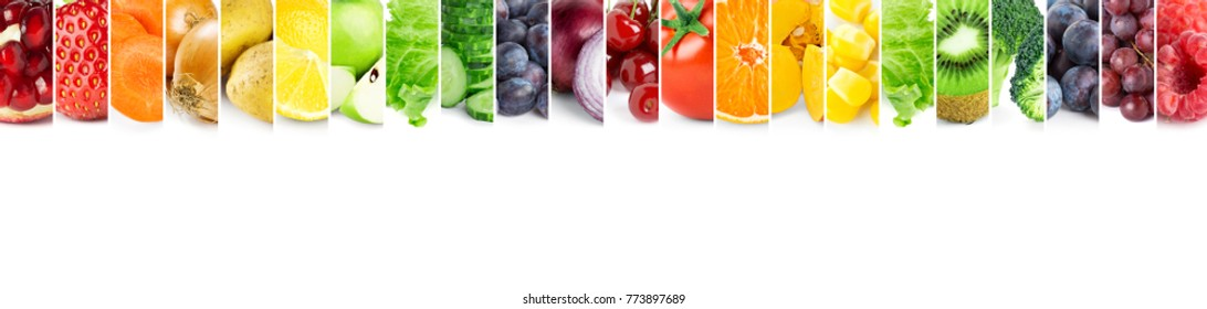 Collage of color fruits and vegetables. Fresh ripe food. Food concept